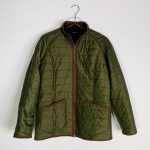 BARBOUR Olive Green Fleece Lined Quilted Jacket 10